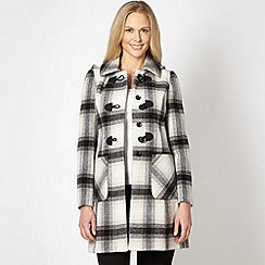 The Collection - Grey oversized check duffle coat