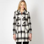 Petite grey oversized check duffle coat