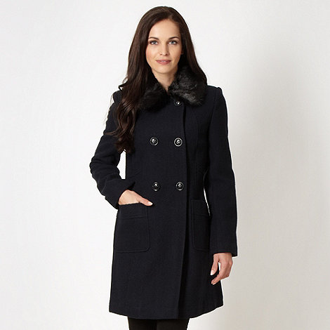 The Collection - Navy textured faux fur collar coat