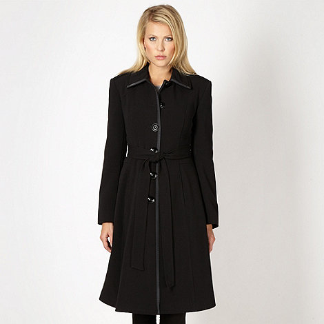 The Collection - Black fit and flare crepe coat