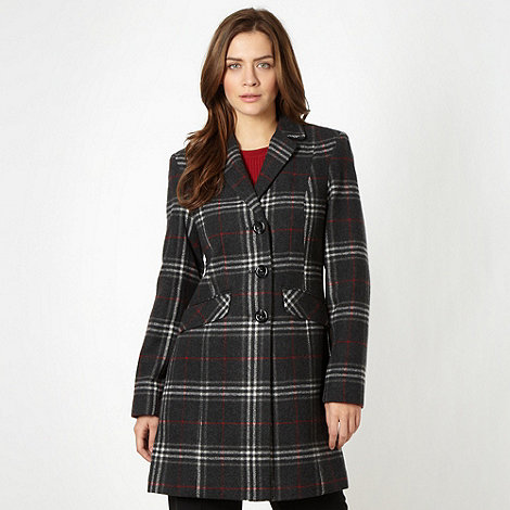The Collection Petite - Petite black checkered button coat
