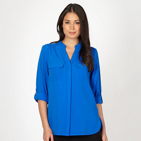 The Collection - Blue collarless dipped back shirt