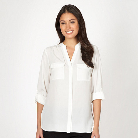 The Collection - Dark cream collarless dipped back shirt