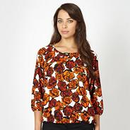 Orange rose bow back shell top