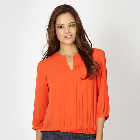 The Collection - Orange pleat front top
