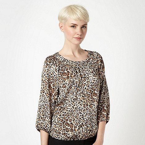 The Collection - Natural leopard bow back shell top