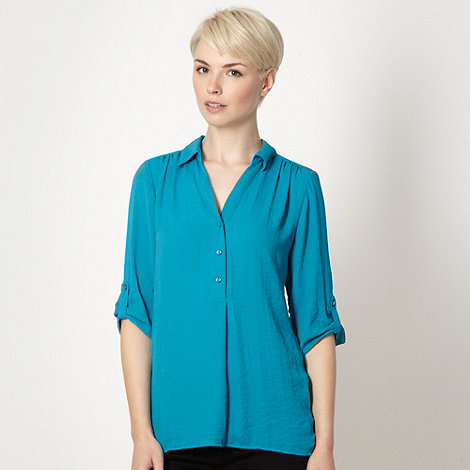 The Collection - Turquoise three quarter sleeved oversized shirt