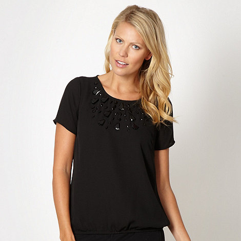 The Collection - Black embellished neck top