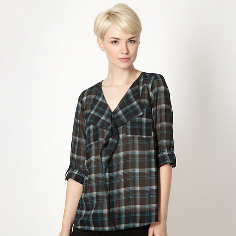 The Collection - Turquoise chiffon checked blouse