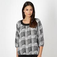 Black mono print blouse