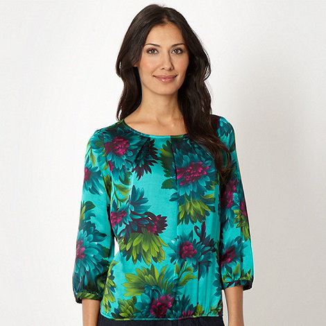 The Collection Petite - Petite turquoise floral bubble hem top
