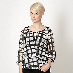 The Collection - Black shadow checked wrap front top