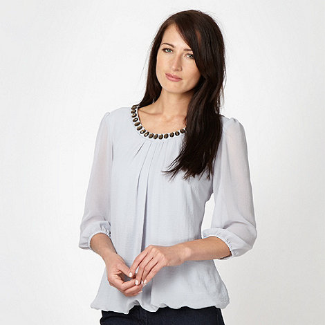 The Collection - Pale blue beaded neck top