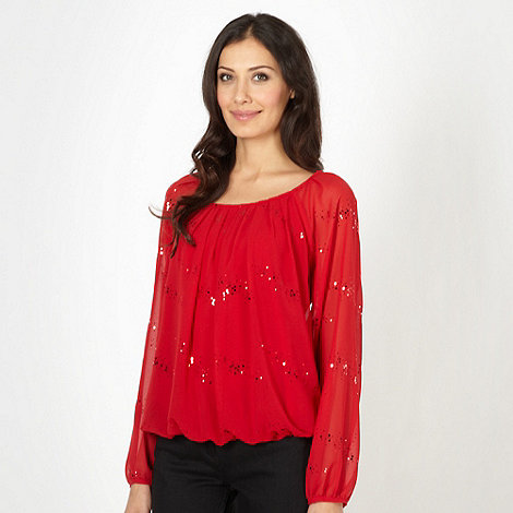 The Collection - Red scatter sequin top