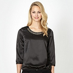 The Collection - Black satin embellished top