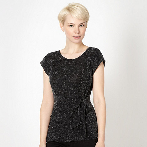 The Collection Petite - Petite black ruched side tie top
