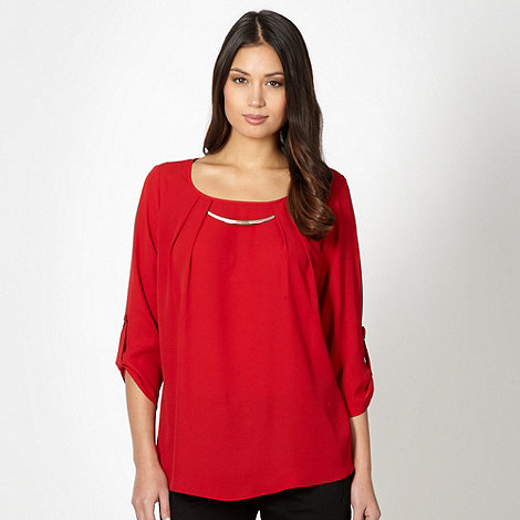 The Collection - Red chiffon pleat necklace top