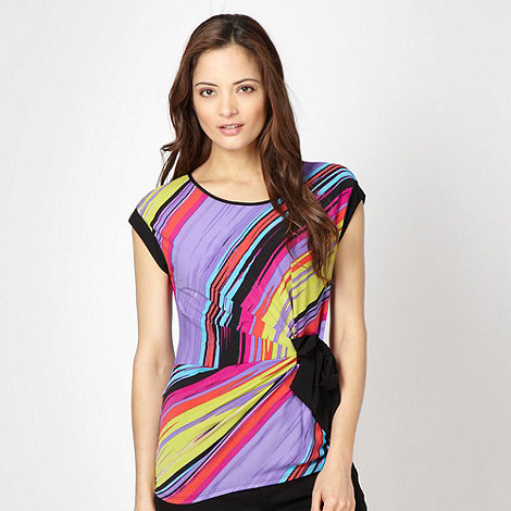The Collection - Purple diagonal striped jersey top
