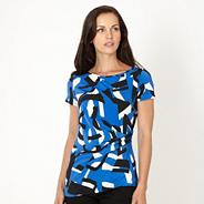Petite royal blue geometric jersey top
