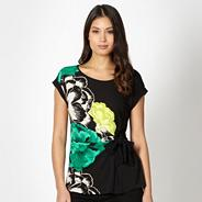 Black abstract floral top