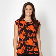 Petite orange shadow flower jersey top