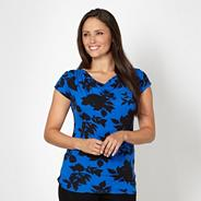 Royal blue shadow flower jersey top