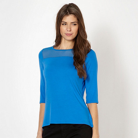 The Collection - Bright blue sheer panel jersey top