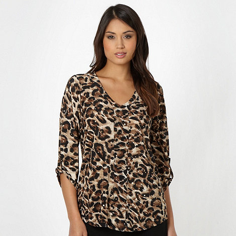 The Collection - Brown animal embellished top
