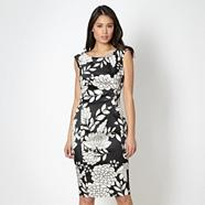 Black japanese floral print dress