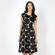 Black large spot prom dress