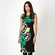 Petite green floral print tie dress