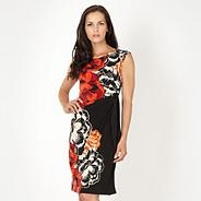Black floral tie front jersey dress