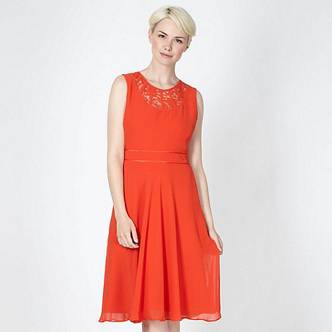 The Collection - Orange lace neck dress