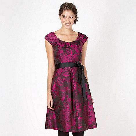 The Collection - Dark pink floral jacquard prom dress