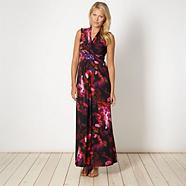 Black digital floral embellished maxi dress