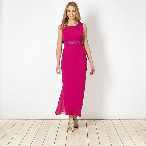 The Collection - Dark pink embellished maxi dress