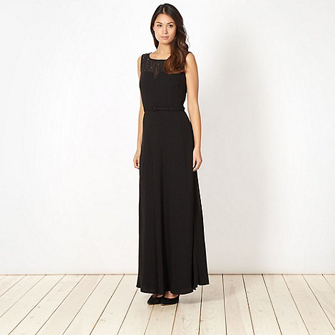 The Collection - Black chiffon embellished belted maxi dress