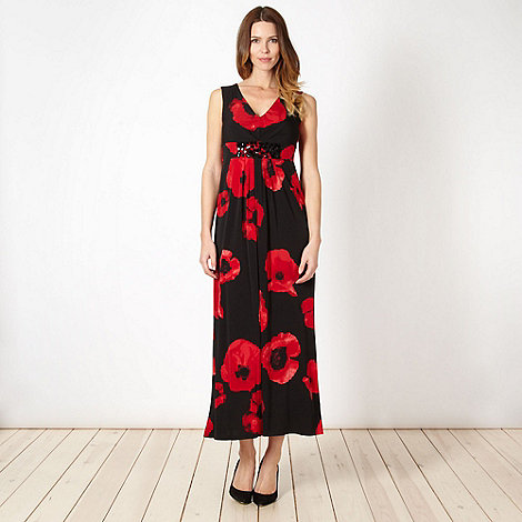 The Collection - Red poppy jersey maxi dress