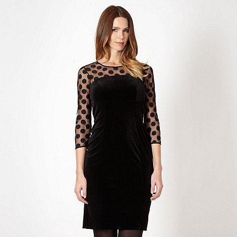 The Collection - Black sheer spotted sleeve cocktail dress
