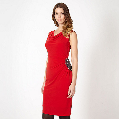 The Collection - Red side embellished jersey dress