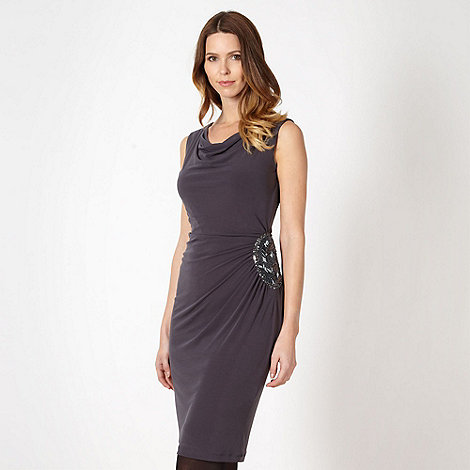 The Collection - Dark grey side embellished jersey dress