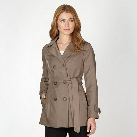 The Collection - Light brown double breasted short mac coat