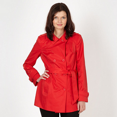 The Collection Petite - Petite red double breasted short mac coat