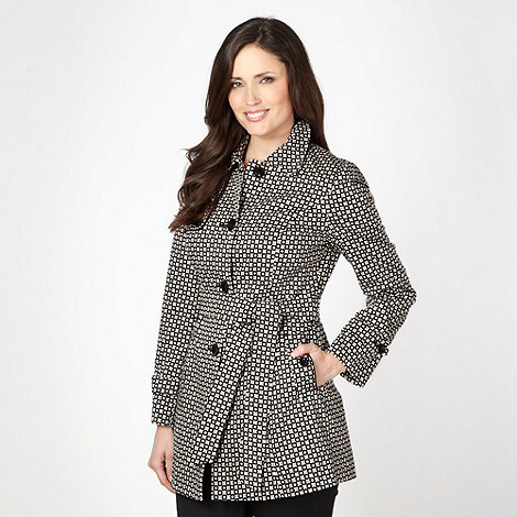 The Collection - Natural geometric spotted short mac coat