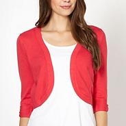 Coral knitted shrug
