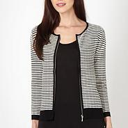 Black textured zip front cardigan