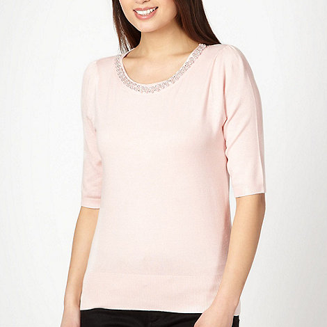 The Collection - Pale pink embellished crew neck jumper