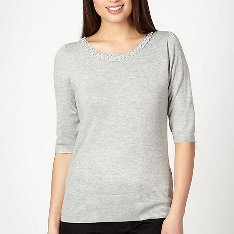 The Collection Petite - Petite grey embellished crew neck jumper