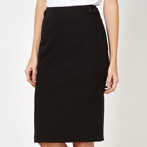 The Collection Petite - Petite black button tab detail skirt