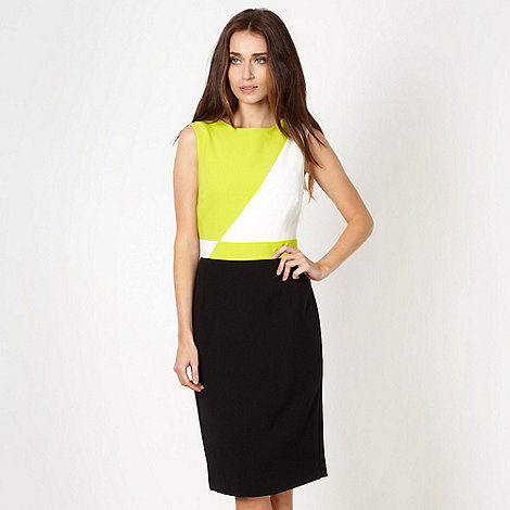 The Collection - Lime diagonal colour block dress
